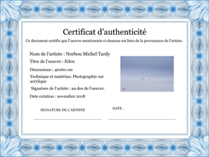 certificat authenticité